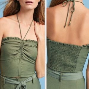 Anthro Maeve Green Halter Crop Top, size Medium